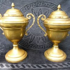 set of beautiful copper goblets mantelpiece ornaments vases in daalderop style (2) - Copper