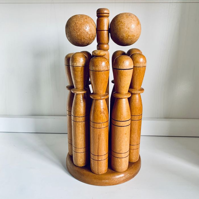A vintage wooden bowling game