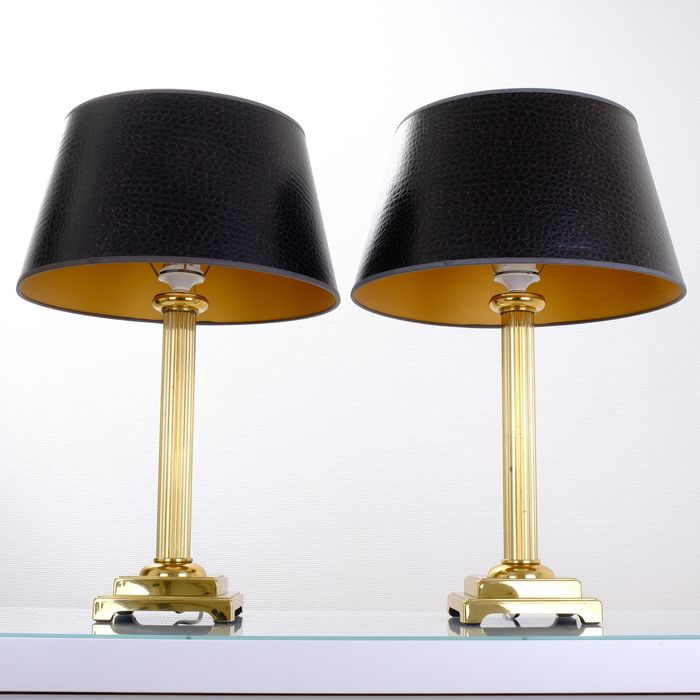 Herda - Chic Exclusive Table Lamps with Faux Leather Shades - Neoclassical Style
