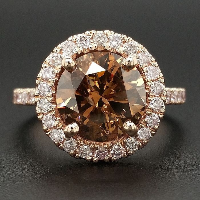 3.88ct Natural Fancy Vivid Orangy Brown and Pink Diamonds - 14 kt. Pink gold - Ring - ***No Reserve Price***