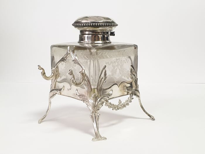 Inkwell, antique inkwell 14x13x13cm - .833 silver - Europe - Late 19th century