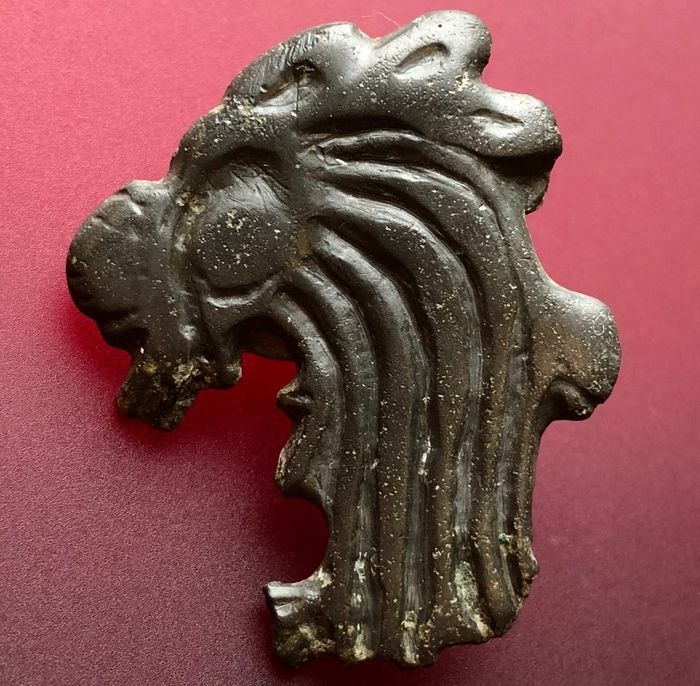 Ancient Scythian Bronze Extremely Rare Zoomorphic Huge Amulet Hybrid Combination Between a Rooster and a Goatling. See Text.