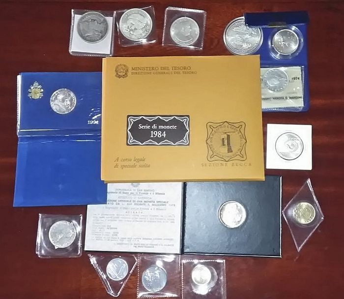 Monde - Lot various coins 20th century (25 pieces) with 11x silver