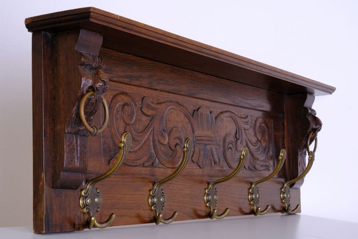 Coat Rack - Woodcarving with Lion Heads and Copper Rings