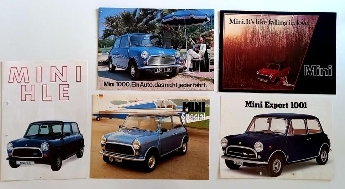 Folletos / Catálogos - 5 Brochure Mini British Leyland - Austin, Mini, Morris, Mini Cooper - 1970-1980
