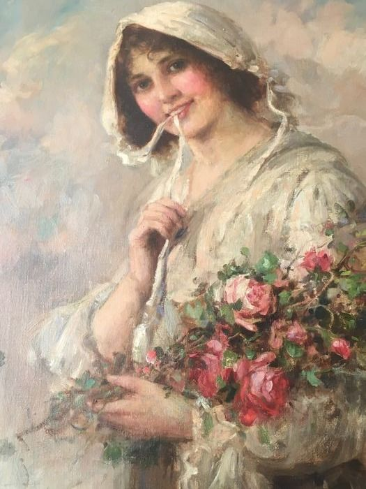 "W J Carroll - Portrait of a Lady with Flowers- "" The Coquette"""