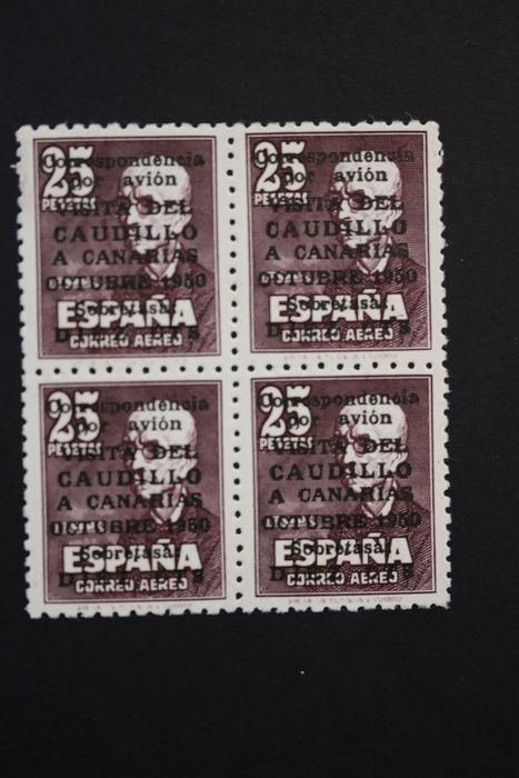 Spanien 1951 - ''Visita del Caudillo a Canarias'' in a block of four, with spine number - Edifil 1090