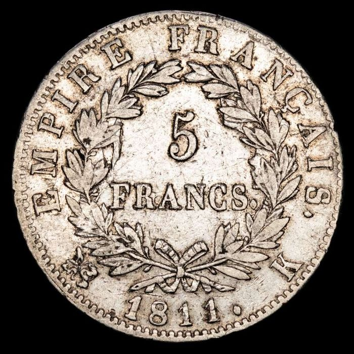 France - Napoleon I - 5  Francs 1811-K (Bordeaux) - Silver
