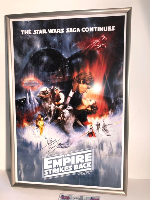 Star Wars - The Empire Strikes Back - Display Signed by Dave Prowse (Darth Vader) - Handtekening, Poster, Framed , with COA  & Proof