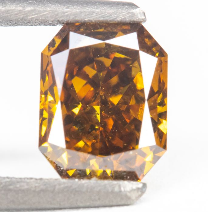Diamant - 0.58 ct - Natürliche Fancy Deep Yellowish Orange - SI1  *NO RESERVE*