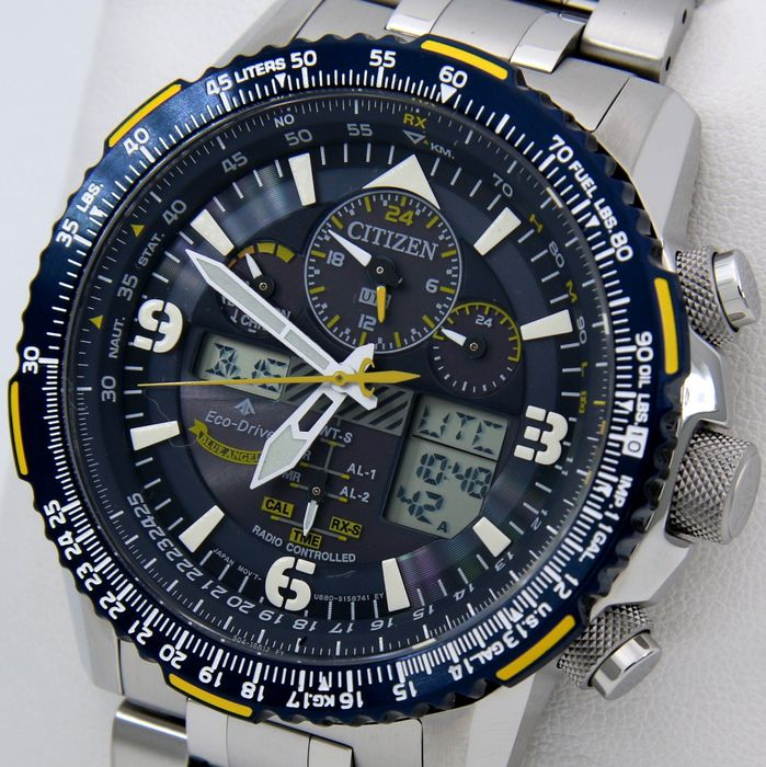 "Citizen - ""NO RESERVE PRICE""Eco Drive ""Blue Angels"" Promaster Skyhawk A-T Radio controlled Atomic Watch  - Hombre - 2019"