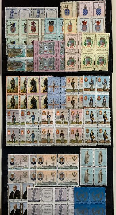 Portugal and Colonies 1951 - Cape Verde and Portuguese India sets in blocks of 4 - Mundifil