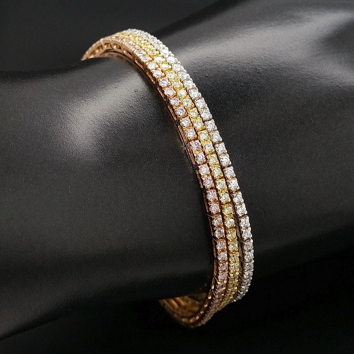 5.51ct Fancy Pink, Fancy Yellow and D-E/VVS Diamonds - 18 kt. Pink gold, White gold, Yellow gold - Bracelet - ***No Reserve Price***