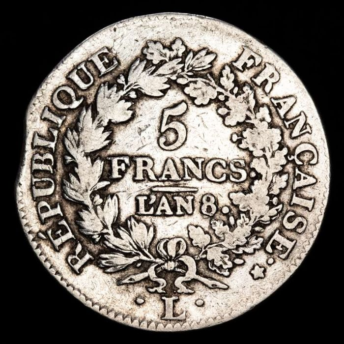France - 5 Francs An 8-L (Bayonne) Union et Force - Silver