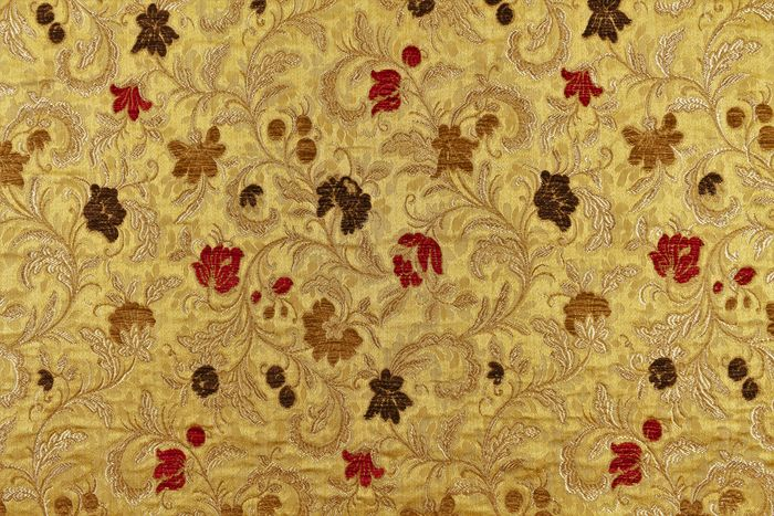 3.80 x 1.40 METERS!!!! Luxurious matelassé floral fabric in gold color with velvet embroidered - Cotone, Velluto - Seconda metà del 20° secolo