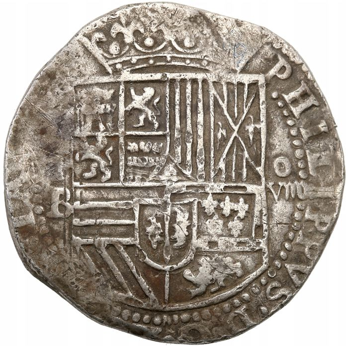 Bolivie, Espagne - 8 Reales 1556 - 1598 King Felipe II - colony of Bolivia - type P B/O - Argent