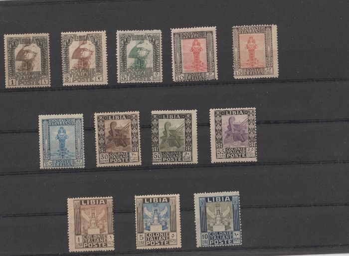 Italian Libya 1921 - Pictorial set with perforation 13 1/2 x 14 - Sassone N. S.5