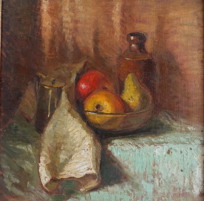 English School (20th century) - Apples in a tray