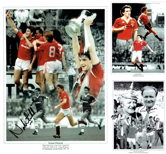 Manchester United - Campionato europeo di calcio - FA Cup Heroes - Ron Atkinson and Tommy Docherty, Norman Whiteside and Steve Coppell - Foto