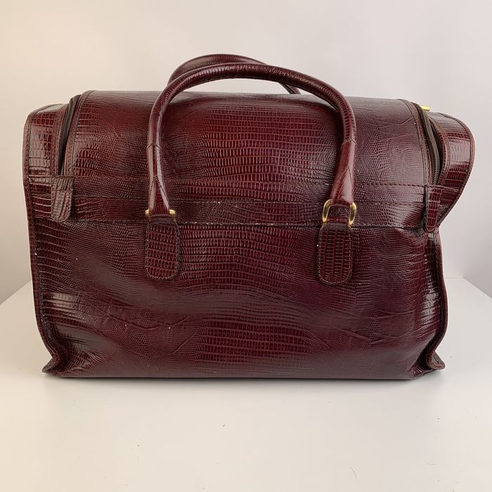 Armani - Giorgio Vintage Burgundy Leather Travel Carry On Beauty case