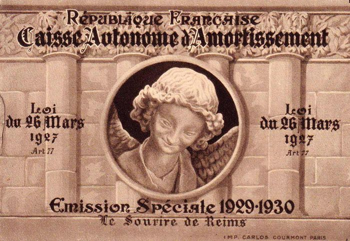 Frankreich 1930 - Smiling Angel of Reims complete booklet of 8 stamps - Yvert 256-C 1