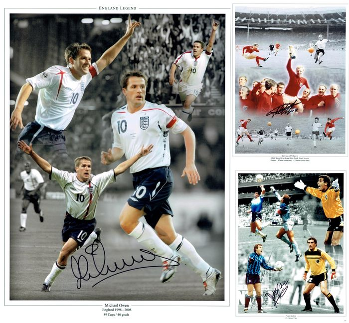 England - Campionati mondiali di calcio - Icons Through The Years - Sir Geoff Hurst, Peter Shilton, Michael Owen - Foto