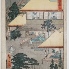 "Xilografia originale - Carta - Architettura del paesaggio - Utagawa Hiroshige (1797-1858) - 'Ishibe: Guests at the Inn' - From the series ""Famous Sights of the Fifty-three Stations"" - Giappone - 1855 (Ansei 2), 7 ° mese"