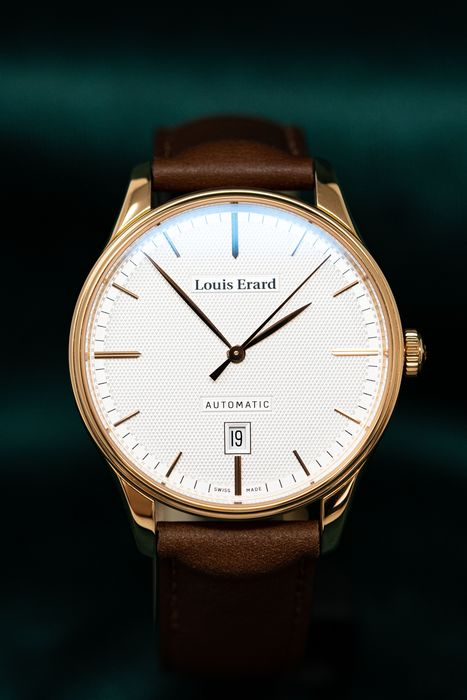 Louis Erard - Mechanical Automatic Héritage Collection Rose Gold Cream Dial Brown Leather Strap Swiss Made - 69287PR31.BVR01 - Men - BRAND NEW