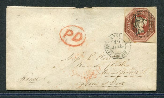 Great Britain 1848 - 10 pence brown Embossed on original letter - Stanley Gibbons 57