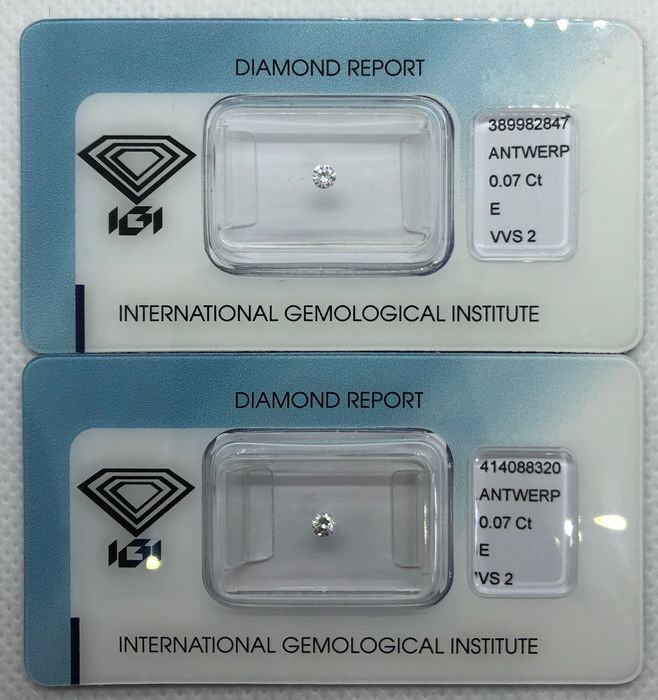 2 pcs Diamanten - 0.14 ct - Brillant, Rund - E - VS2, VVS2, - No Reserve Price