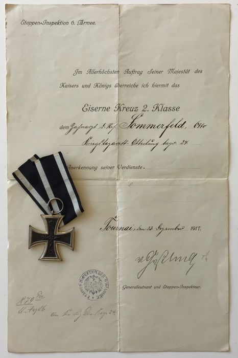 Germania - Iron Cross 2nd Class 1914, produttore D, documento di riconoscimento Tournai Belgio - 1917