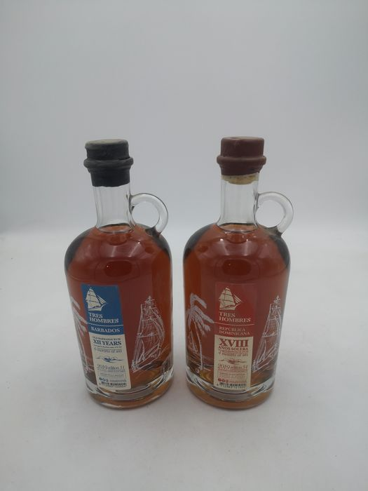 Tres Hombres - Barbados Edition 31 & Dominican Republic Edition 34 - b. 2019 - 70cl - 2 bottles