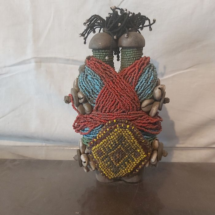 Doll (1) - Beads, Wood, fiselle - fali - northern cameroon