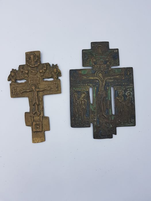 Blessing Cross (2) - Brass, Enamel - 18th century