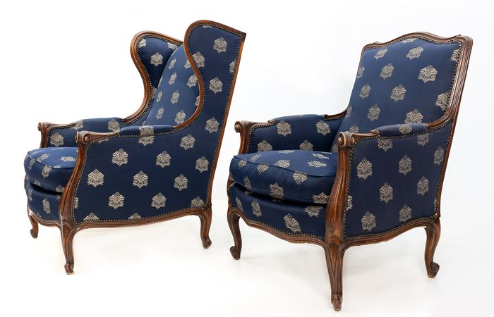 Two matching Bergère chairs - Louis XIV Style