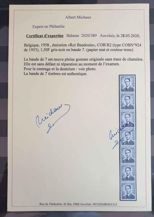 Belgien 1958 - R2 in strip of 7 + Rare and Superb Photo Certificate!