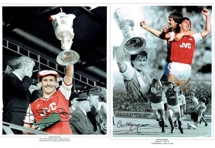Arsenal - Campionato europeo di calcio - League Cup Winners - Charlie Nicholas and Kenny Sansom - Foto