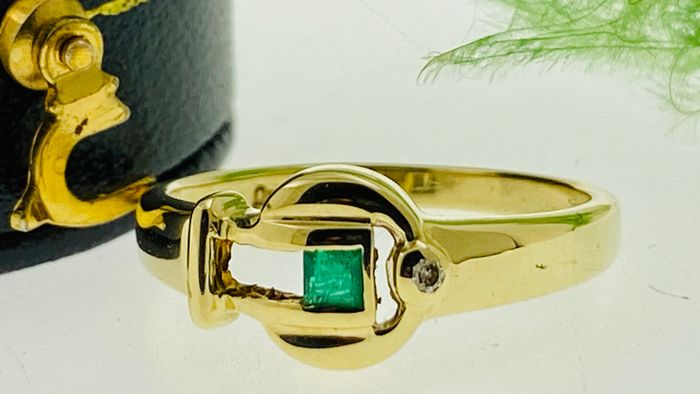 14 kt. Yellow gold - Ring Emerald - Diamond