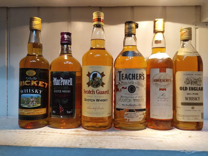 Old Cricket, Mac Powell, Scotch Guard, Teacher's, Adelscott Pure Malt, Old England - b. 1980s, 1990s - 1L, 70cl - 6 bottles