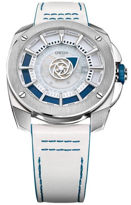 """DWISS - Limited Edition Automatic Mysterious Time Blue with White Leather Strap - RS1-SL """"NO RESERVE PRICE"""" - Uomo - Brand New"""