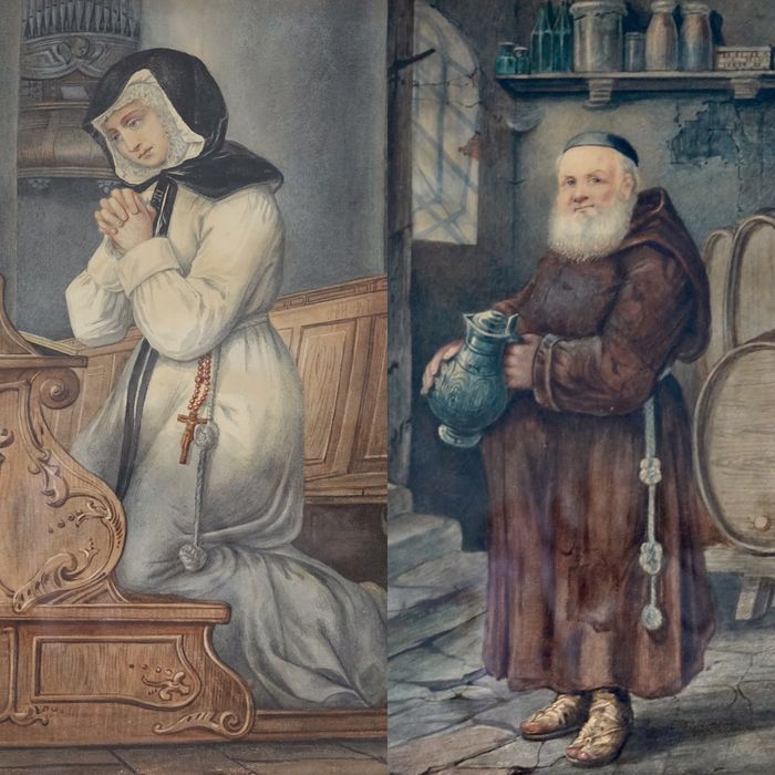 A Holding (XIX) - A pair of portraits of a nun and monk