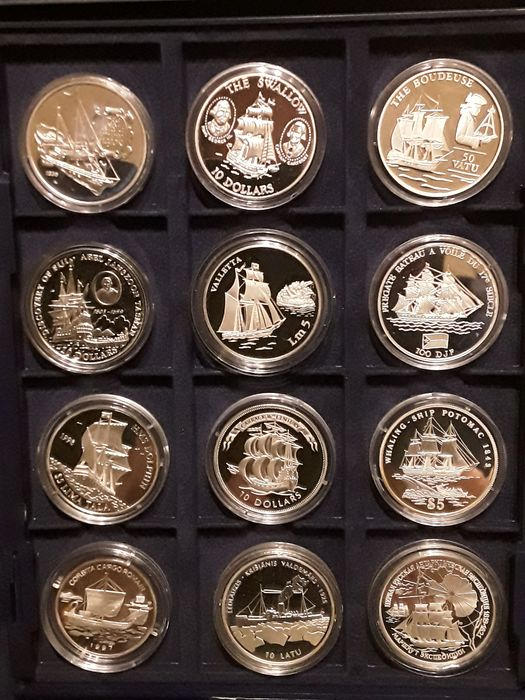 Monde. Collection various coins 1993/1998 Proof 'History of Seafaring' (12 pieces)