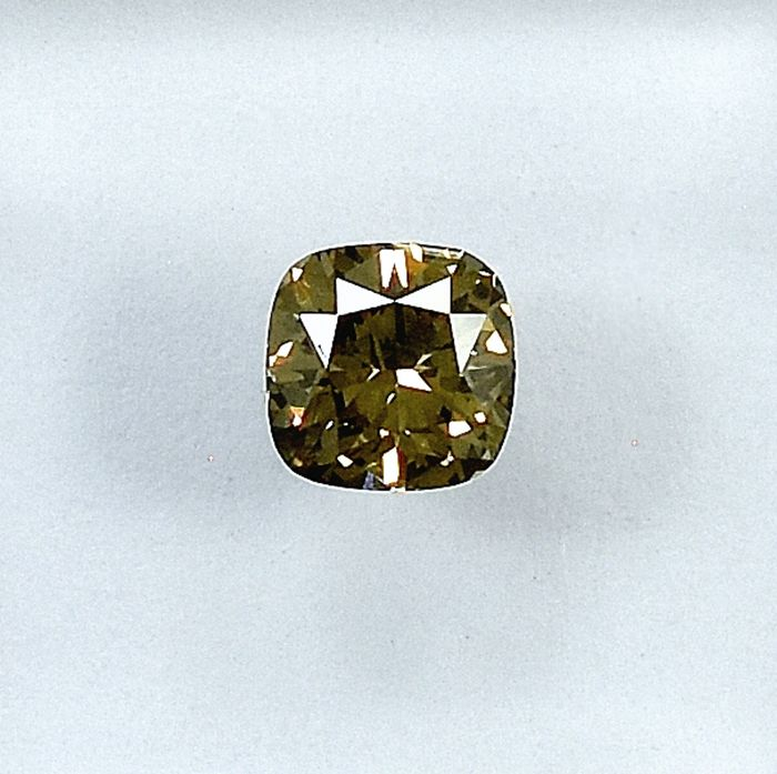 Diamant - 0.45 ct - Carré - Natural Fancy Yellowish Brown - VS2 - NO RESERVE PRICE