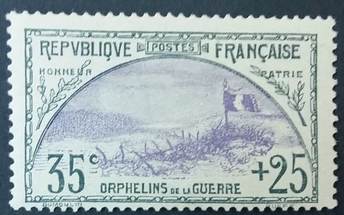 Frankreich 1917/18 - First orphans series, 35 centimes + 25 centimes slate and purple. - Yvert 152