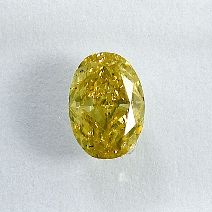 Diamant - 0.41 ct - Oval - Natural Fancy Greenish Yellow - Si1 - NO RESERVE PRICE