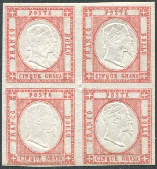 Napolitaanse provincies 1861 - 5 gr. carmine red, block of four with the two upper pieces with strongly shifted double effigy - Sassone N. 21