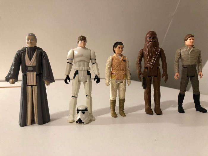 Star Wars - Lot of 5 - Anakin Skywalker, Leia, Luke Skywalker, Chewbacca and Han Solo - Kenner - Personnage d'action - vintage (1977-1985) - see photos and description