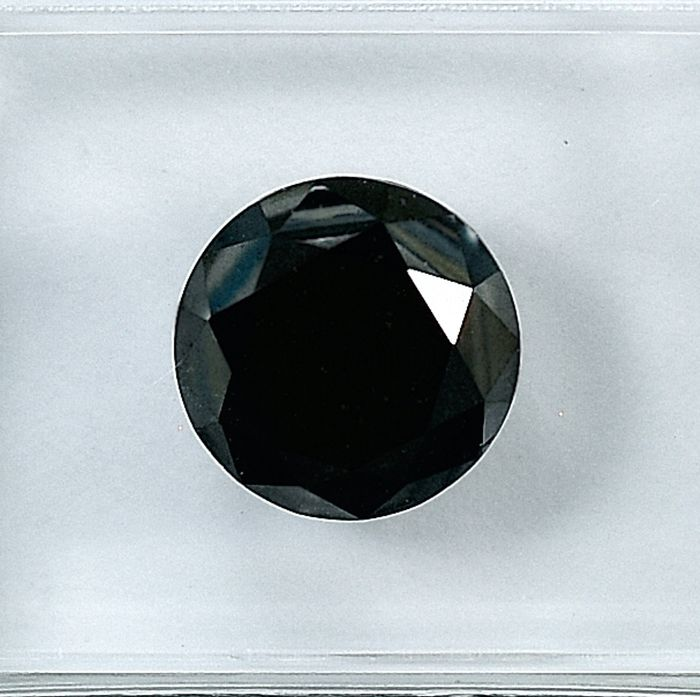Diamant - 1.69 ct - Brillant - Black - NO RESERVE PRICE Treated Colour