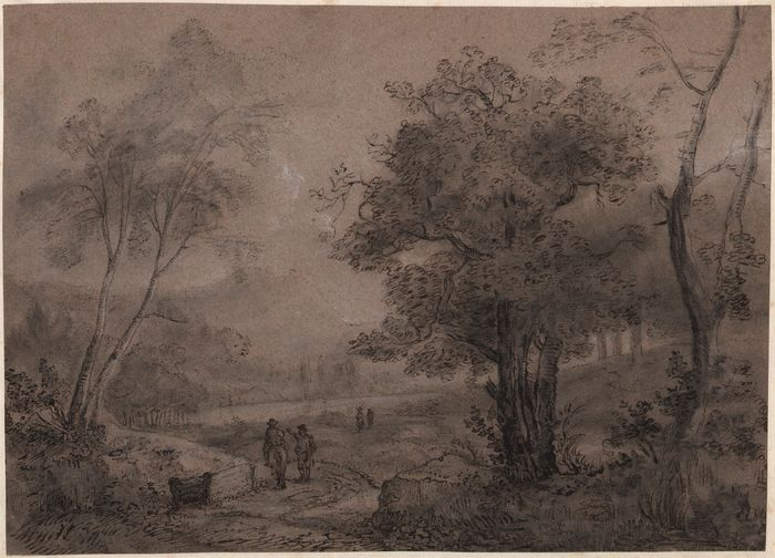 Attributed to Adolf Turcatty (1809-1862) - Travellers in a wooded landscape