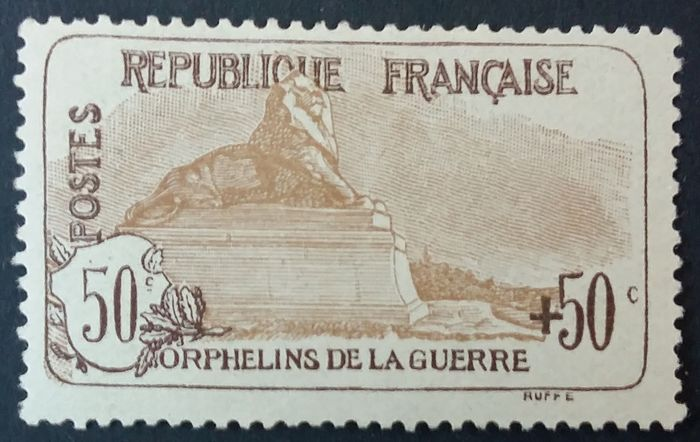 France 1917/18 - First orphans series, 50 centimes + 50 centimes light brown. - Yvert 153